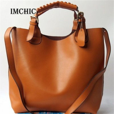 2017 Fashion Trendy Design Women  Bucket Tote Handbags Split Leather Vintage Luxury Big Shoulder OL Casual Bolsa