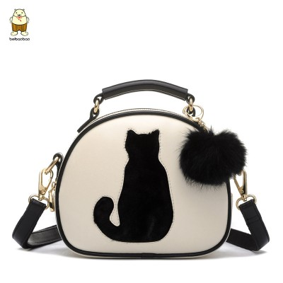 2017 Women bag Lovely Owl and Owl Hairball Women Messenger Bags Patchwork Campus Women Leather Handbags Leisure Shoulder Bags