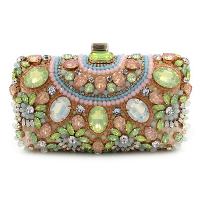 Luxury Fashion Green precious stone Crystal Beaded Encrusted Evening Bags Cocktail bride Wedding Clutches Handbags banquet Bags