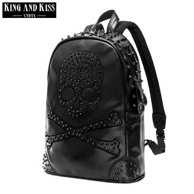 American brand rivet backpack 3D skull imitation leather bag backpack for men rock style notebook laptop bag for high school