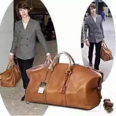 Men Cow Leather Clipper Travel Duffle Handbag Totes