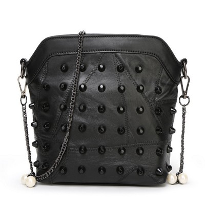 Designer Genuine Leather Rivet Bag Small Black Chain Shell Bags Soft Sheepskin Clutch Fashion Women Purse Bolso sac femme tassen