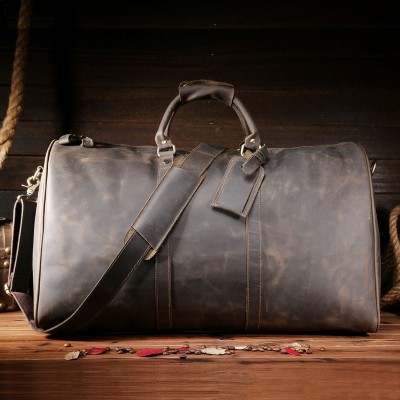 High Quality Men Crazy Horse Genuine Leather Travel Duffle Extra Large Capacity Handmade Travel Bag Male Vintage Tote Bag 7001