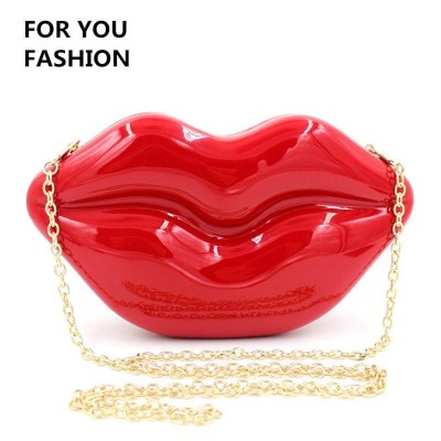Sexy Bags Women Red Lip Shape Evening Messenger Bags Purses Women Clutch Vintage Banquet Party Shoulder Bag Chain Women Sexy Handbag