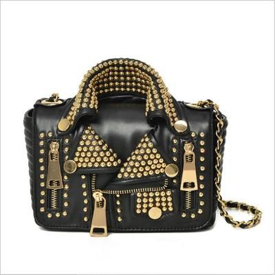2017 NEW Designers  Women Leather Bags Handicraft Rivet Jacket Punk Style Messenger Bags Shoulder Crossbody Bag