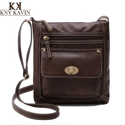 2017 Fashion Solid Color Women Shoulder Bags Famous Brand PU Leather Multi-Pockets Messenger Bag Ladies Crossbody Handbags Small