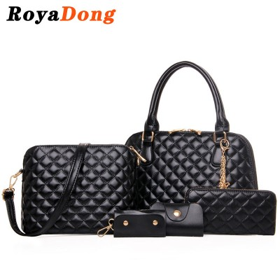 RoyaDong 2017 New Women Composite Bags Pu Leather With Diamond Lattice Top-Handle Bag Set For 5 Pieces Women's Shell Handbags