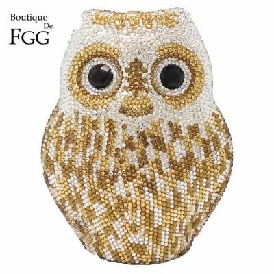 Women's Animal Metal Evening Bags Gold Owl Crystal Diamond Shoulder Handbags Purses Bridal Wedding Party Hard Case Box Clutches
