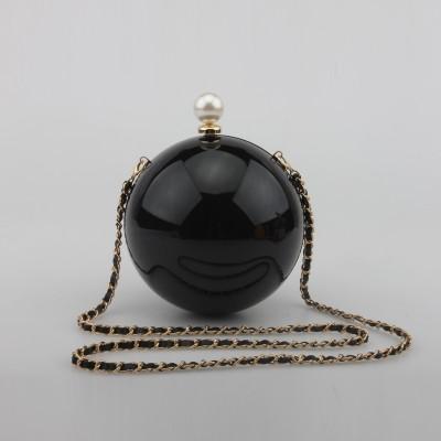 Round pearl women bag purse chain ball party clutches black gold purses bridal clutch perola white pink wedding handbag XA1111A