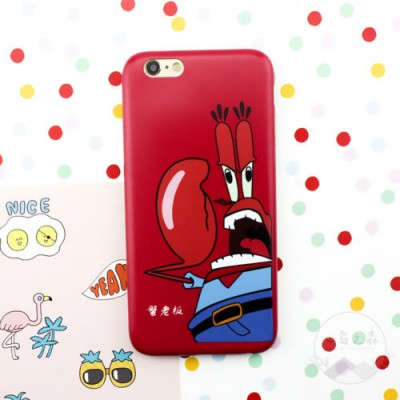 Crab Phone Case Spongebob Iphone 6 Case Lovely Cartoon SpongeBob Patrick Frosted PC Phone Case Cover for Apple iPhone 6 6S 6S 7 plus
