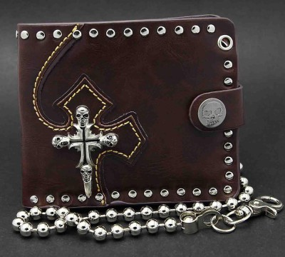 Mens Biker Gothic Skull Cross Brown Leather Wallet Bifold chain Purse