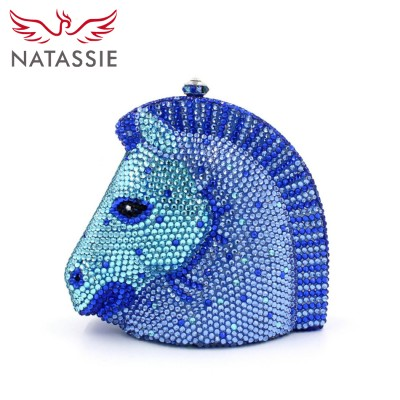 2017 New Women High Quality Crystal Handbags Horse Head Shape Party Clutches Banquet Bags Drop Shipping Blue