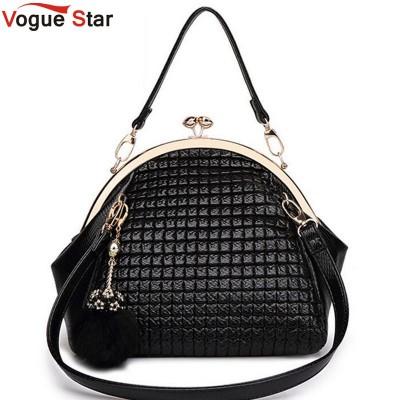 Vogue Star 2017 New Fashion luxury women handbag shoulder bag PU leather Black seashell bag famous designer messenger bag LA208