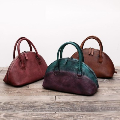 Restro Style Designer Brand Women Genuine Leather Shell shape Cross body Bags Messenger Handbag Cowhide Vintage Tote Bag