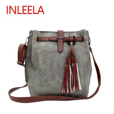 INLEELA 2017 Fashion Scrub Women Bucket Bag Vintage Tassel Messenger Bag Large Retro Shoulder Bag Simple Crossbody Bag
