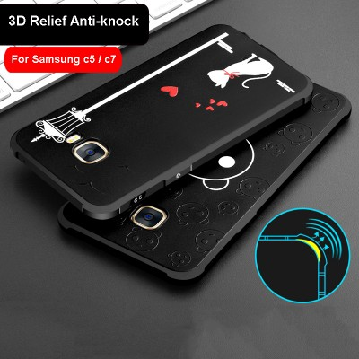 3D pattern Silicone Anti-knock Phone Case For Samsung GALAXY C5 C5000 Coque Shell Samsung GALAXY C7 C7000 case