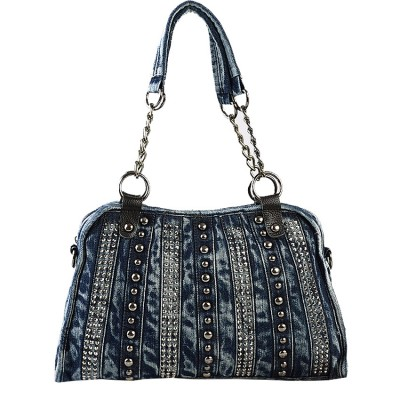 Vintage Denim Shoulder Handbags Designer Ladies Bags Leisure Travel Tote  Denim Handbags Fashion Vintage Rivet Bag