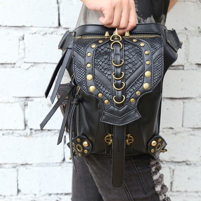 Steel Master 2017 Punk new arrival female retro rock gothic shoulder bag men and women messenger shoulder Bag Womens waist bags