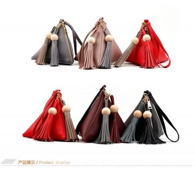 2017 Hottest fashion lovely pyramid-shaped bag leather mini handbag  wristlets key bag