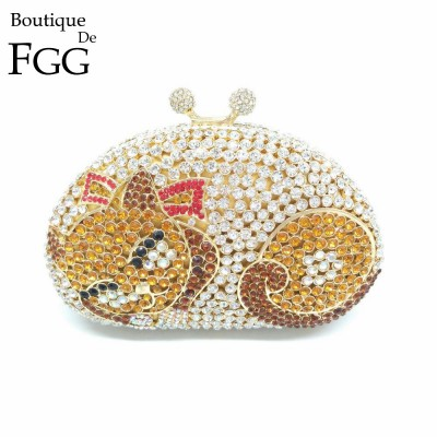 Gift Box Ladies Wedding Dress Crystal Fox Bag Animal Diamond Prom Party Clutch Purse Women Handbag Metal Evening Minaudiere Bags