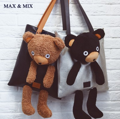 NEWEST Cute Bear Bags Women Leather Handbag Fashion Brand Bag Large Capacity Tote Ladies Handbag Women's Shoulder With Bear Doll