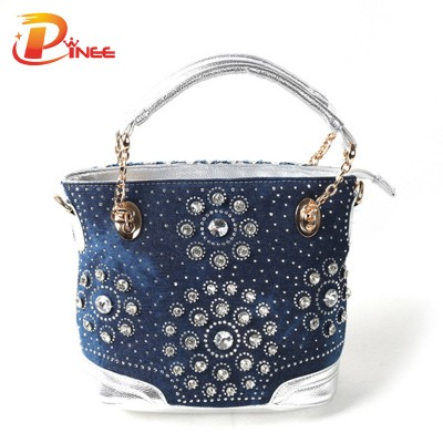 Rhinestone Handbags Designer Denim Handbags leisure women shoulder bag designer crystal diamond demin  bags handbags