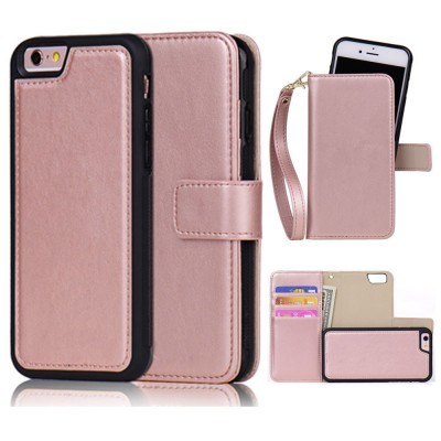 Detachable Leather Wallet Case for iPhone 6 6s Plus 5s 7 SE Girl Rose Gold Pink Black Flip Wallet Case Strap Handbag Phone Bag