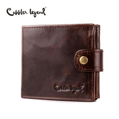Real Cowhide Leather Bifold Clutch Mens Short Purses Male Wallets with ID Credit Cards Holder