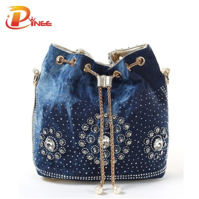Rhinestone Handbags Designer Denim Handbags Gold Chain Denim Handbags For Women Casual Bling Rhinestone Jeans Women Shoulder Bags