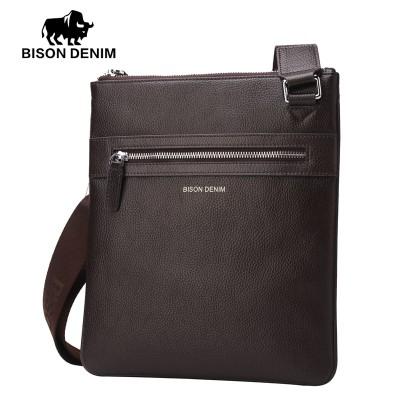 BISON DENIM Brand 100% top cowhide genuine leather Male bags slim shoulder bag Business Travel Ipad Crossbody Bag for men