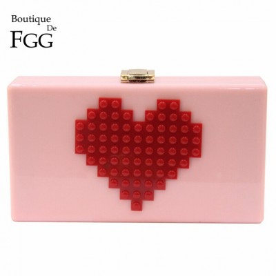 Ladies Red Heart Shape Pink Acrylic Box Clutch Bag Women Evening Bag Wedding Party Prom Shoulder Handbag Hardcase Clutches