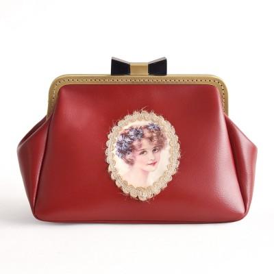 Princess Gothic lolita bag Original vintage painting Girl Purse all-match elegant fashion simple bow clip chain bag b0012