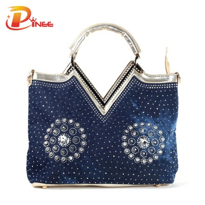 Rhinestone Handbags Designer Denim Handbags women handbags famous brands fashion denim design rhinestones and rivets woman messenger bags