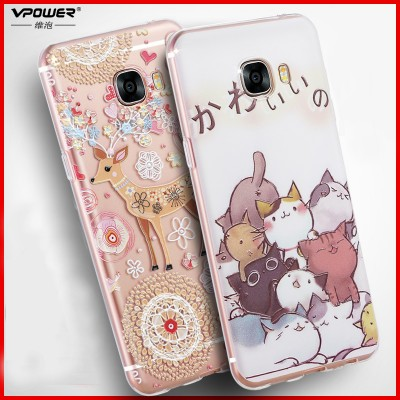 Phone Case for samsung galaxy c7 case 3d relief for galaxy c7 tpu soft transparent CASE Phone Cover c7 +finger ring holder