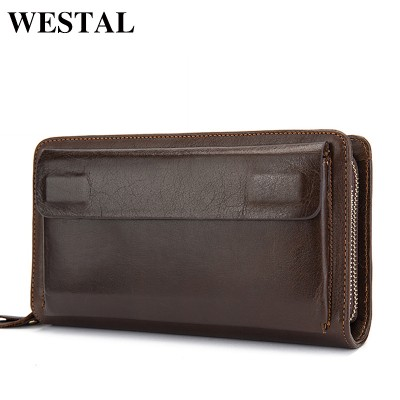 Double mens wallet with zipper compartment Mens Leather Money Clip Wallet Clutch Bag Mens Purses Genuine Leather Men Wallets Leather Men Wallet Long Male Purse