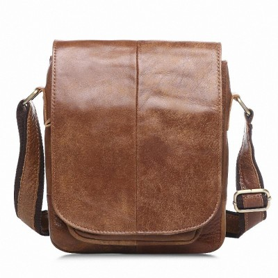 Vintage Casual 100% Genuine Leather Crazy Horse Cowhide Men bags Pack Small Shoulder Messenger Bags For Man Messenger Bag LI-870