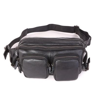 New genuine cow leather men's multifunction travel bags chest pack men waist packs hiqh quality men waist bag 7352