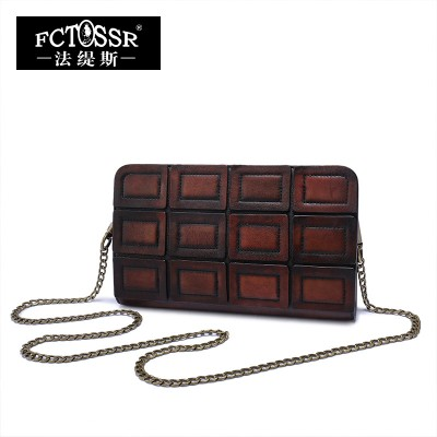 2017 Genuine Leather Vintage Women Shoulder Bag Handmade Cow Leather Wallet Metal Chain Women Bags Plaid