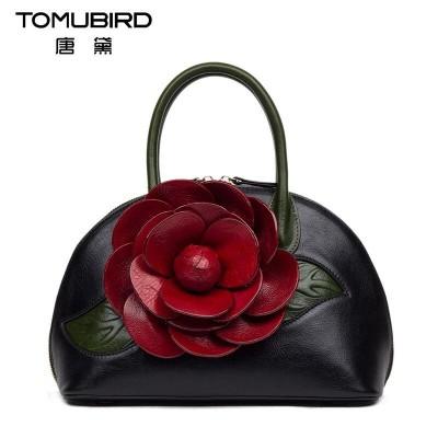 2017 New genuine leather women bag three-dimensional hand-rose fashion women leather handbags shoulder bag shell bag
