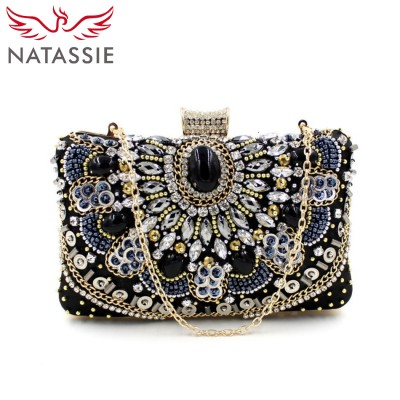 NATASSIE Women Small Black Clutch Bags New Vintage Bag Ladies Evening Clutches Purses Designer Handbags High Quality