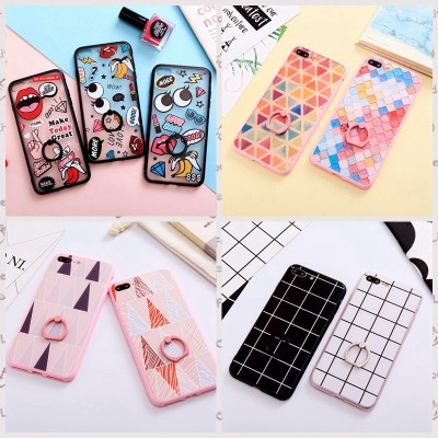 cartoon phone cases 3D Cute Cartoon Diamond Grid Hard Back Transparent Cover for iPhone 7 6 Plus Fudas Case For iPhone 6S Capa With Ring Grip cartoon cases
