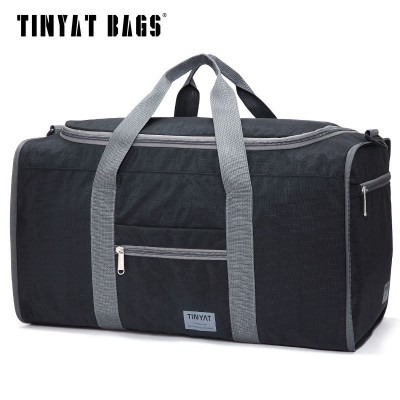 TINYAT Male Men Travel Bag Folding Bag Protable Molle Women Tote Waterproof Nylon Casual Travel Duffel Bag Black T-306