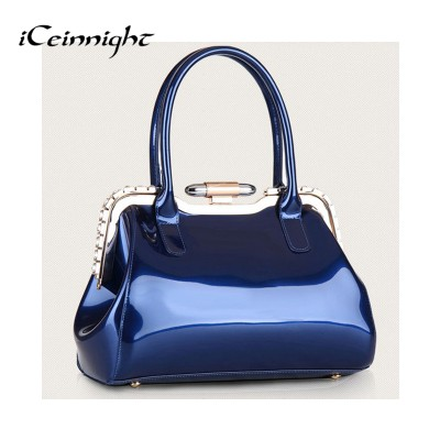 iCeinnight Women's bags ladies handbags elegant bag candy color blue patent leather handbag diamond solid party shell luxury