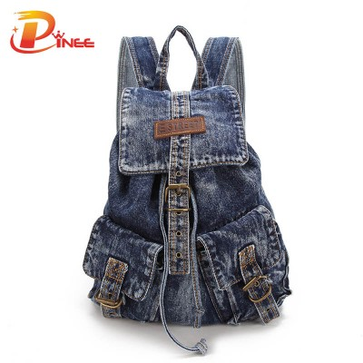 American apparel denim backpack Casual School Bags Woman Shoulder Bag Canvas Backpacks For Teenage Girls Vintage Rucksack Travel Bag black blue denim backpack