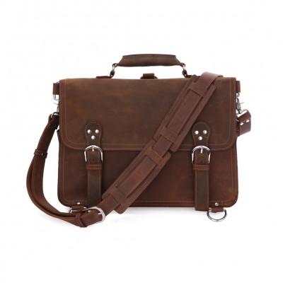 Rare Crazy Horse Leather Mens Brown Business Briefcase Laptop Totes Bag Dispatch Cross-body Shoulder Messenger Huge 16 inch