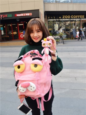 Pink Panther Animal Shape Three-dimensional Handmade Canvas Backpacks Shoulder Bags Pink Round Creative Taste