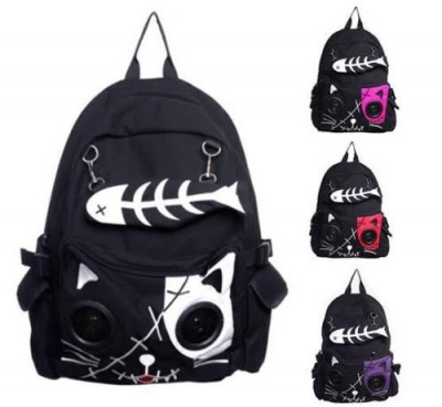 Gothic Backpacks Speaker Bag by Banned KIT Cat Animal Rucksack Backpack Emo Gothic Plug & Play Fish Bone
