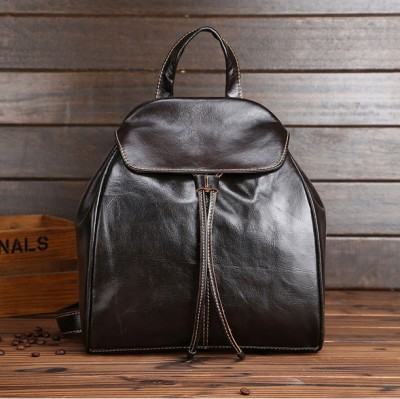 Black Small Multifunctional Backpack Genuine Leather Women Mini Backpack Shoulder Bags
