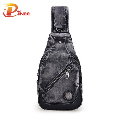 Vintage Denim Shoulder Handbags Brand New 2017 Demin Men Female Chest Bags Casual Functional Fanny Bag Waist Bag Money Phone Belt Bag Package