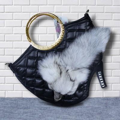 Ladies handbags luxury plush fox shoulder bags metal diamonds clutch women shopping bags purses messenger bags fox shape shoulder bags